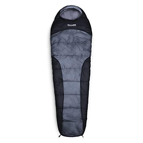 Lumaland Outdoor Schlafsack Mumienschlafsack, 230 x 80 cm, inklusive Packsack, 50 x 25 cm gepackt grau