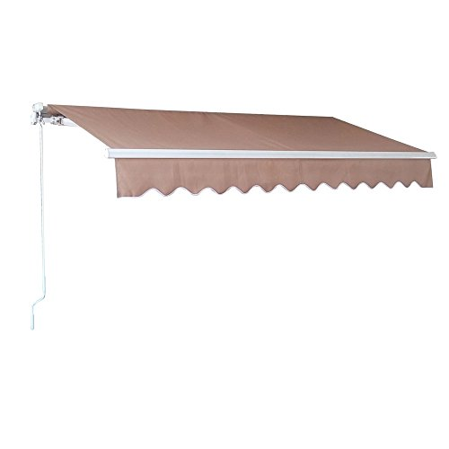 Outdoor Manual Retractable Awning Patio Deck Sunshade Sun Shelter Canopy ,6.5'×5'/8.2'×6.5'/10'×8'/11.5'×10'/13'×10' (10'×8', Beige)
