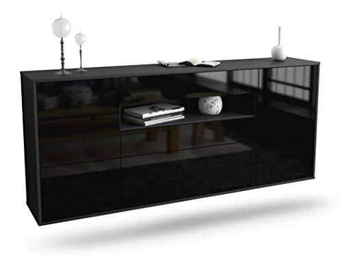 Dekati dressoir Plauen hangend (180 x 77 x 35 cm) corpus antraciet mat | front hoogglans design | Push-to-Open | lichtlopende rails modern zwart