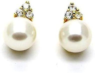 Pegaso Gioielli–boucles d'oreilles or jaune 18carats avec perle et zirconium femme fille