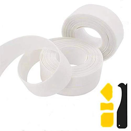 LIMADOO 2 Pack Tape Caulk Strip + 4 Caulking Tools,Waterproof Sealing Bathtub Tape Flexible Self Adhesive Sealing Tape for Kitchen Bathroom Shower Toilet Sink Wall Corner