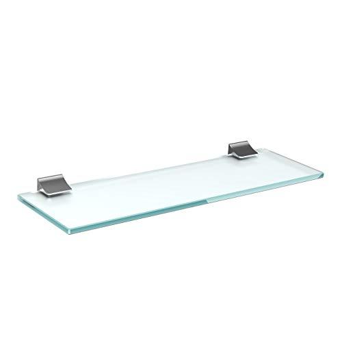 Glasregal Glasablage Wandregal Glas Bad-Regal Glas Badezimmer Regal Badablage Ablageregal - 8mm Hartglas, 80 x 15 cm, Milchglas + Halterung D - Chrom Glanz Optik
