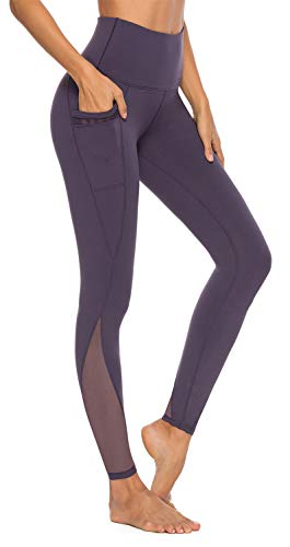 AFITNE Yoga Pants for Women High Waisted Mesh Leggings Tummy Control Athletic Workout Leggings with Pockets Gym Purple - L