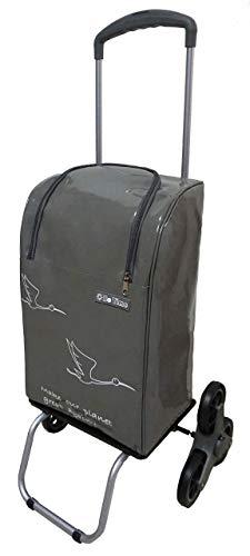Bo Time Chariot de Courses 2 / 6 Roues Imperméable 40l/30kg Poignée Télescopique, Fermeture Éclair (6 Roues) - Nombrederoues : 6 Roues (Monte-escalier)