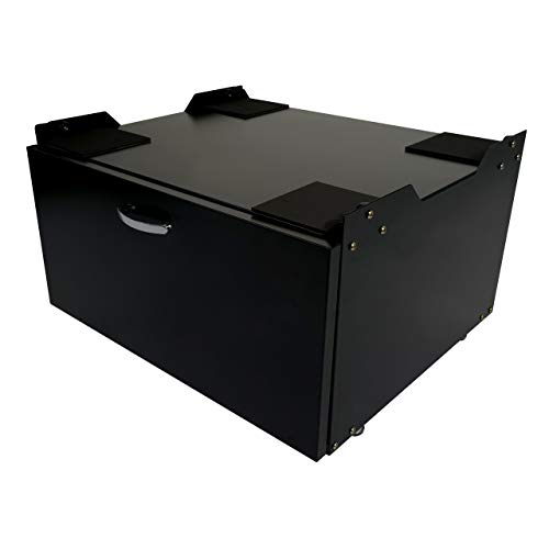 Mendler Waschmaschinenunterschrank HWC-E50, Sockel Podest Erhöhung Untergestell, Schublade 33x61x52cm ~ schwarz