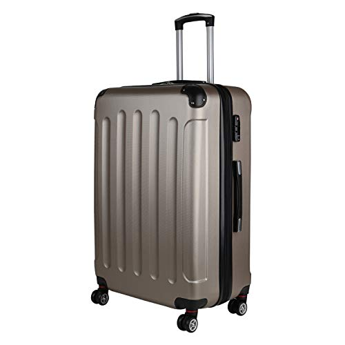Koffer Hartschalenkoffer Beautycase 4-Rollen Trolley Stoßfestes Polycarbonat ABS Zahlenschloss Reisekoffer 178367 L Bronze