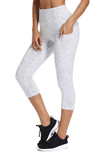 FITTOO Mallas 3/4 Leggings Mujer Pantalones de Yoga Alta Cintura Elásticos y Transpirables Gris Claro XL