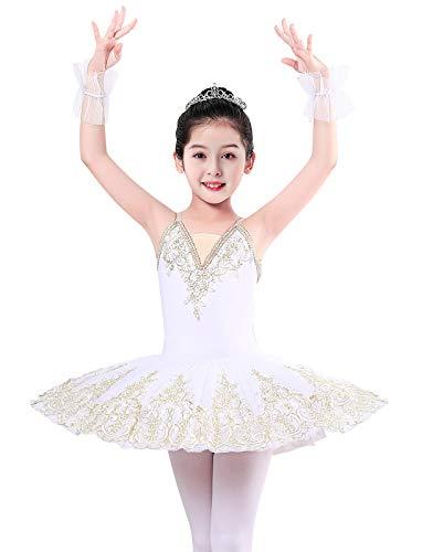 ZX Vestido de ballet con falda para nias, con encaje, tut, para competicin, 4  13 aos - blanco - 6-7 aos