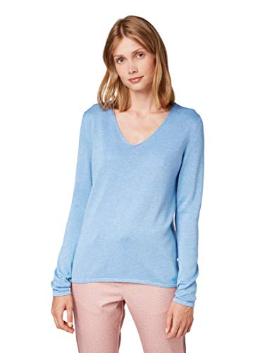 TOM TAILOR Damen Pullover & Strickjacken Pullover mit V-Ausschnitt sea Blue Melange,M