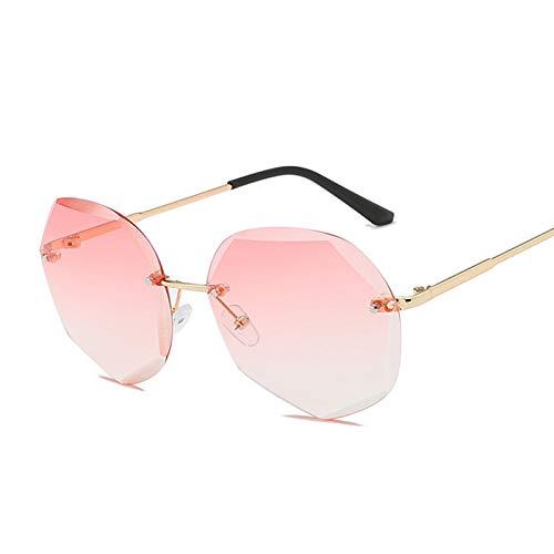 NJJX Gafas De Sol Vintage Para Mujer, Gafas De Sol Graduadas Sin Montura A La Moda, Lentes De Corte, Gafas Sin Marco Para Mujer, Naranja, Rojo