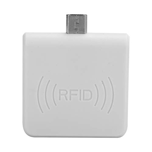 Portable RFID ID Phone Card Reader, Plug and Play Micro USB Mobile Phone Card Reader for Android, for Animal Husbandry and Pet Management(Blanco)