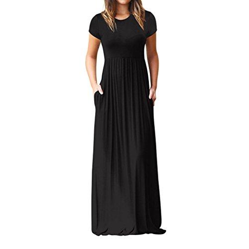VEMOW Sommer Herbst Elegante Damen Frauen Oansatz Beiläufige Taschen Kurzarm Bodenlangen Kleid Lässig Täglichen Strand Lose Party Kleid(Schwarz, 44 DE / 2XL CN)