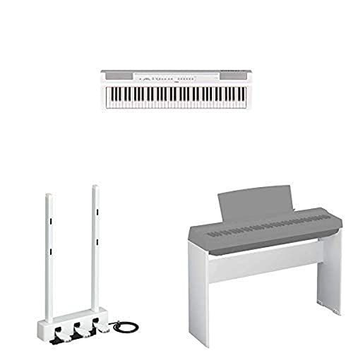 Yamaha P121 73-Key Digital Piano Deluxe Bundle with Furniture Stand and 3-Pedal Unit, White