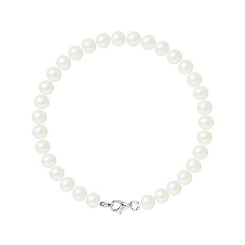 Pearls & Colors - Bracciale Vere Perle coltivate d'Acqua Dolce Semi-barocche, Colore Bianco Naturale, qualità AAA+ - Disponibile in Diverse Misure, Argento 925, Gioiello da Donna