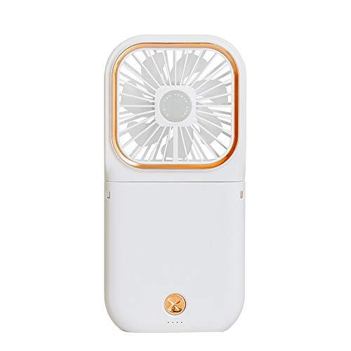 KUMADAI Mini Ventilador USB Portátil Recargable,Pequeño Ventilador De Cargar De Cuello Colgante Perezoso, para Viajes Al Aire Libre Soporte para Teléfono Móvil Banco De Energía,Blanco