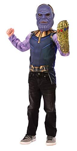 Avengers - Disfraz de Thanos Infinity War para niños, pecho musculoso, guantelete y máscara, talla única (Rubies 34188)