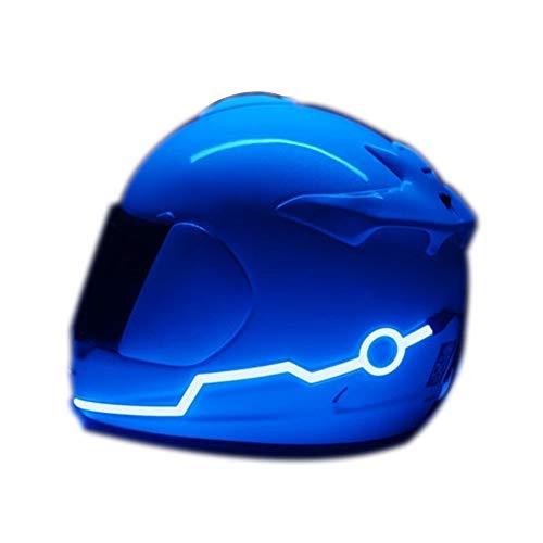 JASZHAO 5 Color Fashion cool Motorradhelm Kaltlicht Helm Helm gestreiften Helm-Licht mit Lokomotive Helm nachtlicht Gürtel,Blue
