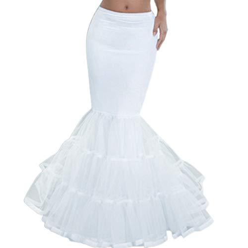 LEZAIMEI Women Petticoat,Women Layered Fishtail Petticoat Underskirt Hoopless Tulle Bridal Crinoline Slip