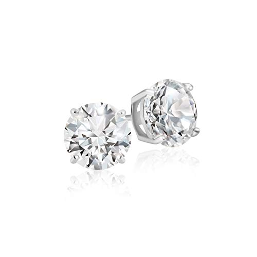 Lusoro 925 Sterling Silver Round Cut AAA Cubic Zirconia Stud Earrings - 1/2 Carat Total Weight CZ