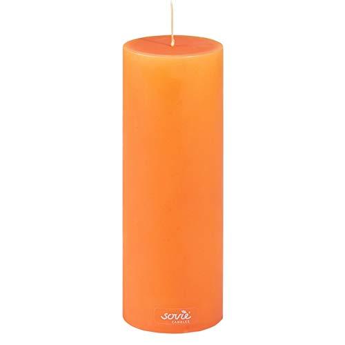 Sovie Candles Stumpenkerze | Adventskranz Gesteck Blockkerze | 1 Flachkopfkerze in Orange (Ø70mm x 200mm)
