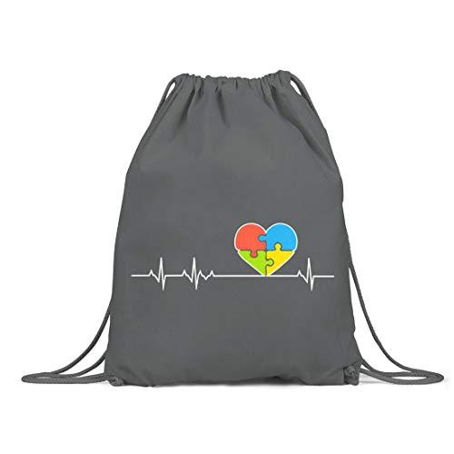BLAK TEE Puzzle Heartbeat Autism Awareness Organic Cotton Drawstring Gym Bag Grey