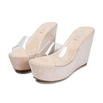 MIOKE Women s Clear Pearl Wedge High Heel Sandals Espadrille Platform Open Toe Slip On Dress Slide Sandal