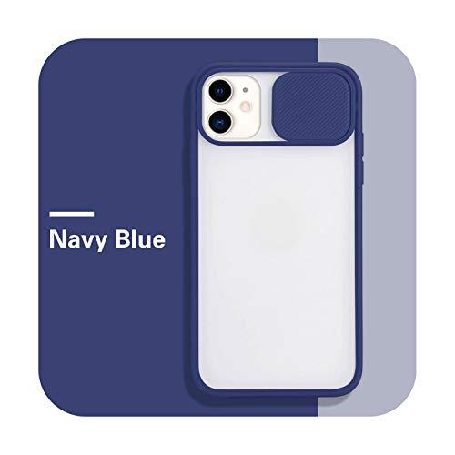 Funda de protección de lente de cámara para iPhone 11 12 Pro Max 8 7 6 S Plus Xr XsMax X Xs SE 2020 12 Color Candy Soft Back Cover-Azul marino para iPhone XR