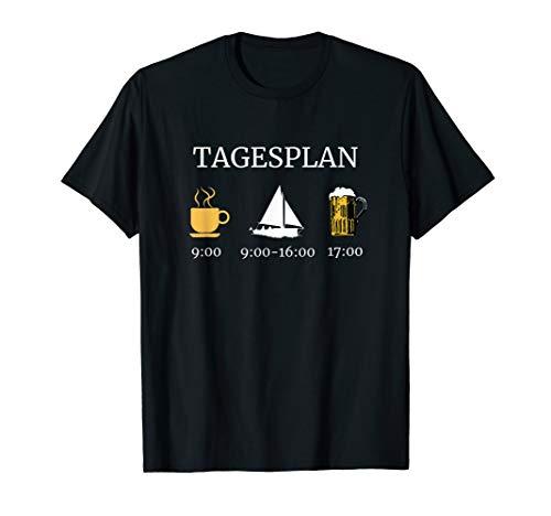 Tagesplan Kaffee Segeln Bier Trinken Segelboot T-Shirt