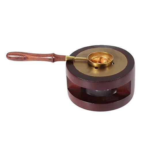 Seal Wax Melting Furnace Tool, Yoption Rose Wood Wax Seal Warmer with Melting Spoon Kit Wax Sticks Beads Melting Furnace Tool Stove Pot