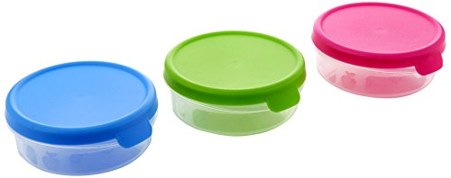 Juypal à ouverture facile rond opaque couvercles Nourriture Boîte de rangement Lot, assortis, 0.25 litre, Lot de 4