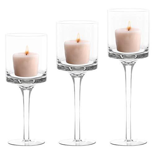 BELLE VOUS Pack de 3 Portavelas Cristal para Velas de Té (3 Tamaños Diferentes) Porta Velas Decorativas Altos Elegantes para Bodas, Decor del Hogar, Fiestas, Centros de Mesa y Regalos