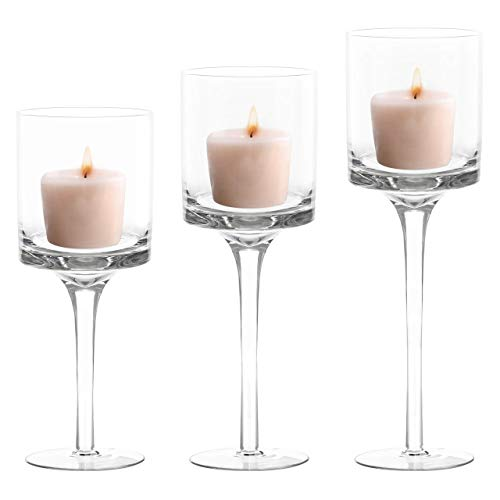 Belle Vous 3 Pack of Tea Light Glass Candle Holders (3 Different Sizes) - Tall Glass Design - Ideal For Weddings, Home Decor, Dining Rooms, Parties, Centrepieces Table Settings & Gifts