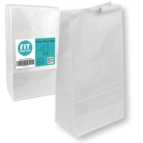 [200 unidades] Bolsas de papel blanco de 2,7 kg, 27,9 x 15,2 x 8,8 cm, para el almuerzo de la compra, bolsa duradera blanqueada