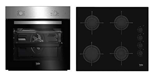 Beko BSE21031CXD - Cocina (Integrado, Negro, Acero inoxidable, Giratorio, Front/Top front, Encimera de gas, Butano)