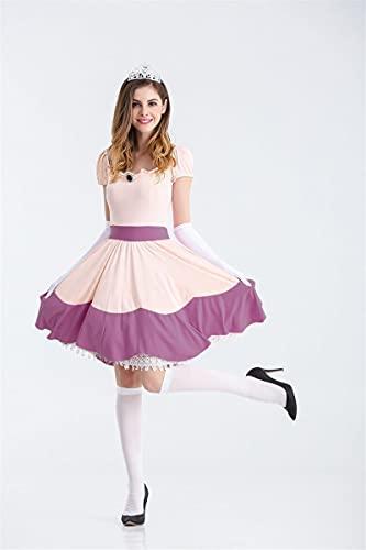 TSUSF Disfraz De Princesa Peach para Fiesta De Halloween,Vestido Rosa,Uniforme De Juego De rol,Disfraz De Fantasa para Mujer,Disfraz De Carnaval para Mujeres Adultas (Color : Purple, Size : S)