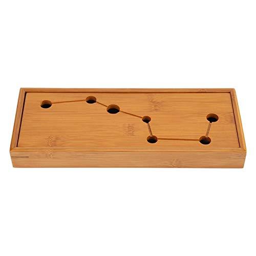 Bandeja de té de bambú, mesa de té china con siete agujeros para bandeja de té de sobremesa, accesorios de té de Kung Fu