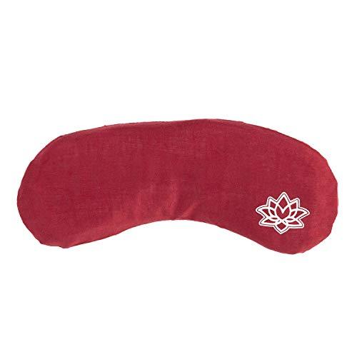 Bodhi - Cuscino per occhi con imbottitura in semi di lino di lavanda, per yoga, relax e meditazione (rosso vino, loto)