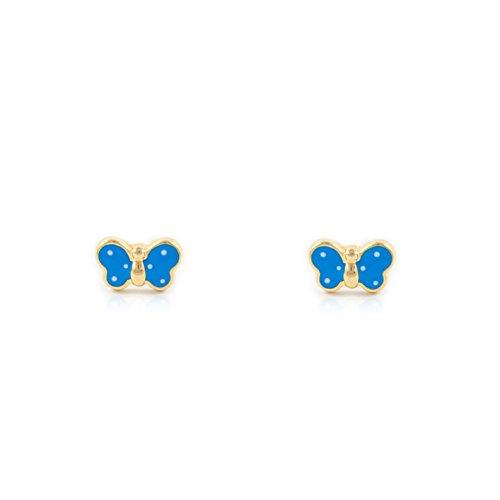 Pendientes Bebe Mariposa Esmaltada Azul