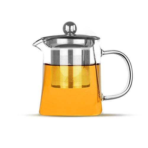 Maison & White Infuseur à thé en verre | Filtre à théière en acier inoxydable à feuilles mobiles | Passoire à thé et café résistante à la chaleur | Th