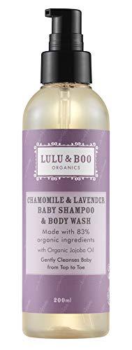 Chamomile & Lavender Organic Baby Shampoo & Body Wash – Calming Formula, Certified Organic, Vegan Registered, Biodegradable and Cruelty Free - by Lulu & Boo Organics UK – 200ml