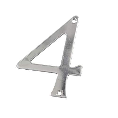 1pc RVS Huisnummer Plaques, 75mm Hoogte digitale deur Huisnummer 0/1/2/3/4/5/6/7/8/9# Optioneel Schroef Mounted Deur Plaatnummers (Color : Number 4)