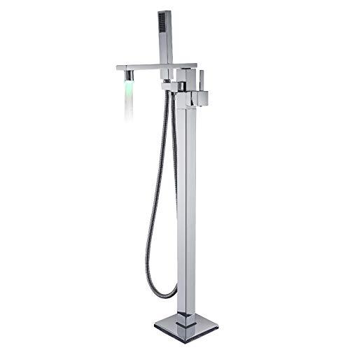 Rozin Badezimmerarmatur mit LED-Wasserfall-Auslauf mit Handbrause Bodenmontage Wannenarmatur Chrom Duschsystem