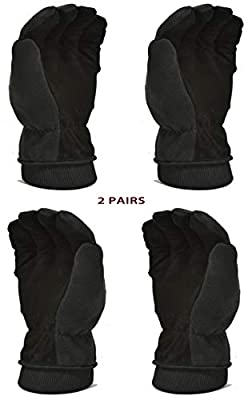 2 PAIR VALUE PACK Premium Deerskin Polar fleece Back and 3M Thinsulate lining Winter Outdoor Gloves, Thremo Gloves, cold weather gloves, space Grey/Balck