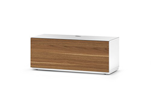 SONOROUS Studio ST-110B Wood and Glass TV Stand with Hidden Wheels for Sizes up to 65' (Modern Design with 4 Shelves For Your Audio/Video Components and Consoles, Comes with I/R Repeater)-Walnut Cover