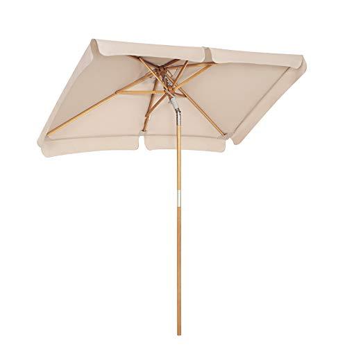 ombrellone da spiaggia in legno SONGMICS Ombrellone da Balcone di 2 x 1