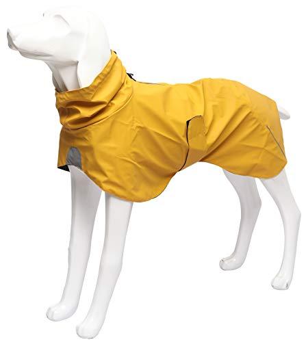 Ctomche Leichte wasserdichte Windhunde Regenjacke für Hunde,Verstellbarer reflektierender Hunde-Regenmantel,Hunde-Regenmantel mit reflektierenden Streifen Gelb L