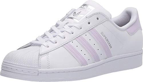 adidas Originals Damen Superstar Turnschuh, Weiß/Lila Tönung/Silber-Metallic, 42 EU