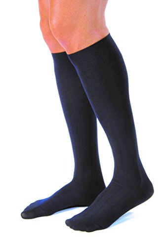 JOBST for Men Casual Knee High 30-40 mmHg Compression Socks, Closed Toe, Large Full Calf, Navy