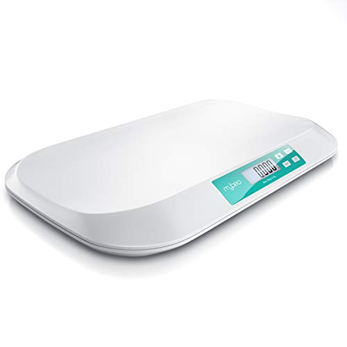 MyBeo - Báscula infantil digital - Balanza para bebés niños y mascotas - Baby scale - 54 x 26 cm - Peso hasta 20 kg con precisión de 5 gramos - Función tara - Gran pantalla de 7,6 cm - Diseño blanco