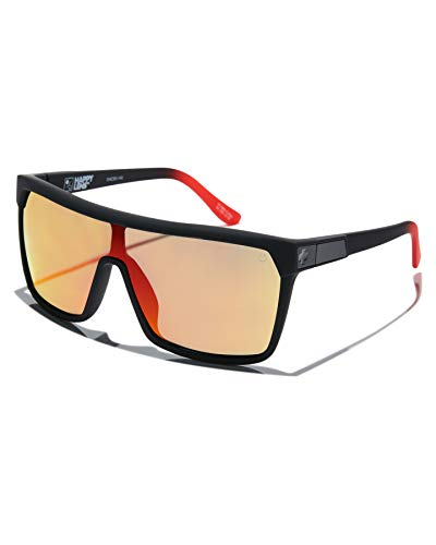 SPY Optic Flynn, Shield Sunglasses, Color and Contrast Enhancing Lenses, Soft Matte Black Red Fade - HD Plus Gray Green with Red Light Spectra Mirror Lenses